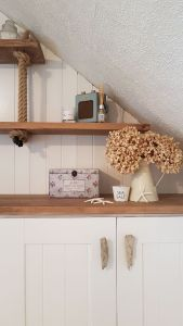 Finished bedroom cupboard and shelves driftwood handles